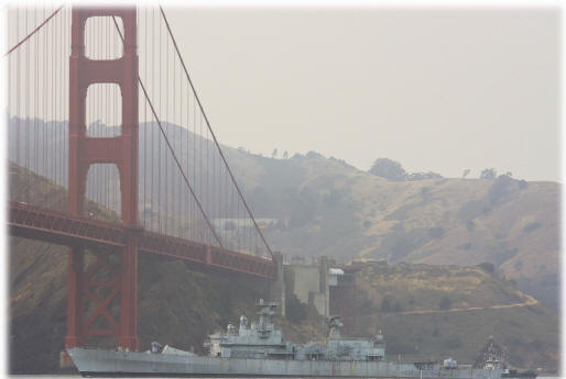 Horne begins her final voyage as she exits San Francisco Bay and approaches the Golden Gate Bridge - 06/26/08 - Special thanks to Dave Tudman for the photo - More photos coming soon! (click for detail)